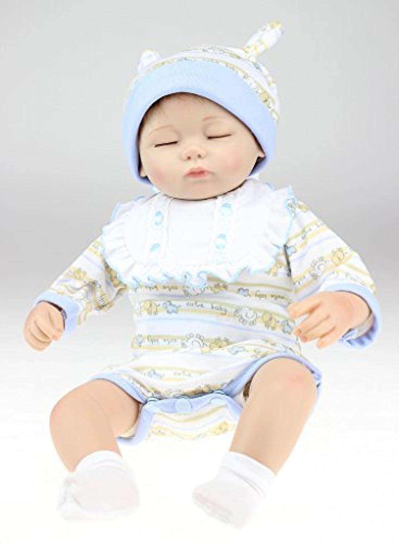 NPKDOLLリボーンベビードールソフトシリコン18インチ45センチメートル磁気ラブリーリアルなかわいい少年少女の玩具ホワイトビブ目を閉じる 人形 Reborn Baby Doll A1JP