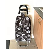 DC 2163 Shopping Trolley Foldable Oxford Fabric Flower Bag Luggage Wheels Folding Basket (Black)