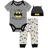 Happy Threads DC Comics Newborn Boys Batman A Hero Never Sleeps Bodysuit Jogger Cap Set