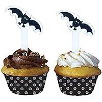 PARTYMASTER ハロウィン飾り蝙蝠のデザイン ケーキトッパー  48枚入り ケーキの装飾
