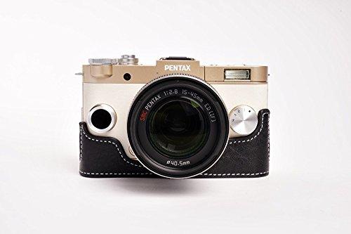 TP PENTAX ペンタックス QS-1用本革レンズカバー付カメラケース(8.5mm 5-15mm 15-45mm用) ブラック