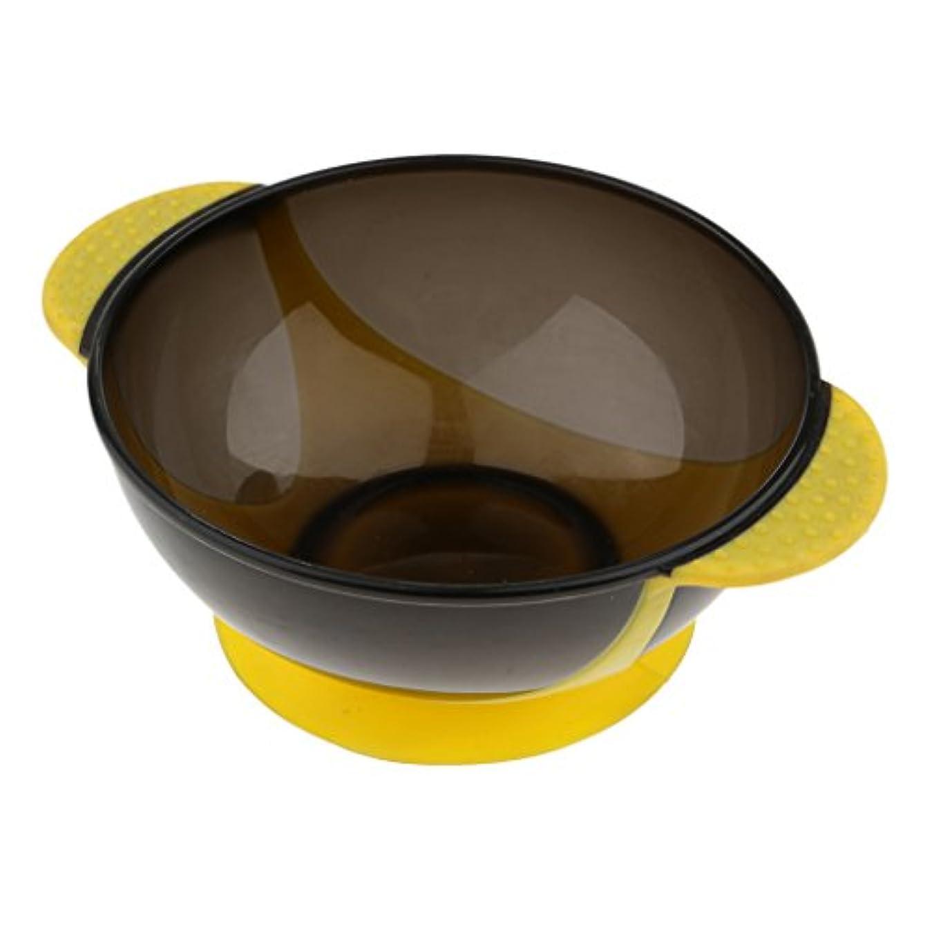 知覚できる間欠違反ヘアダイボウル 染料 色合い ボウル 吸着パッド ヘアカラー ミキシングボウル プラスチック 全3色 - 黄