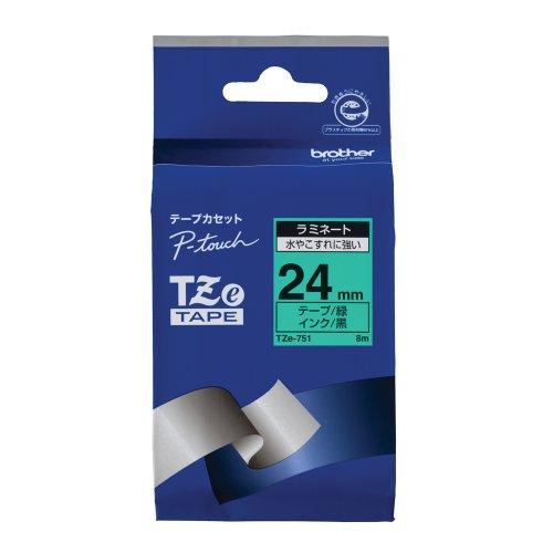 ピータッチ ラミネートテープ 緑ラベル TZe-751 [黒文字 24mm×8m]