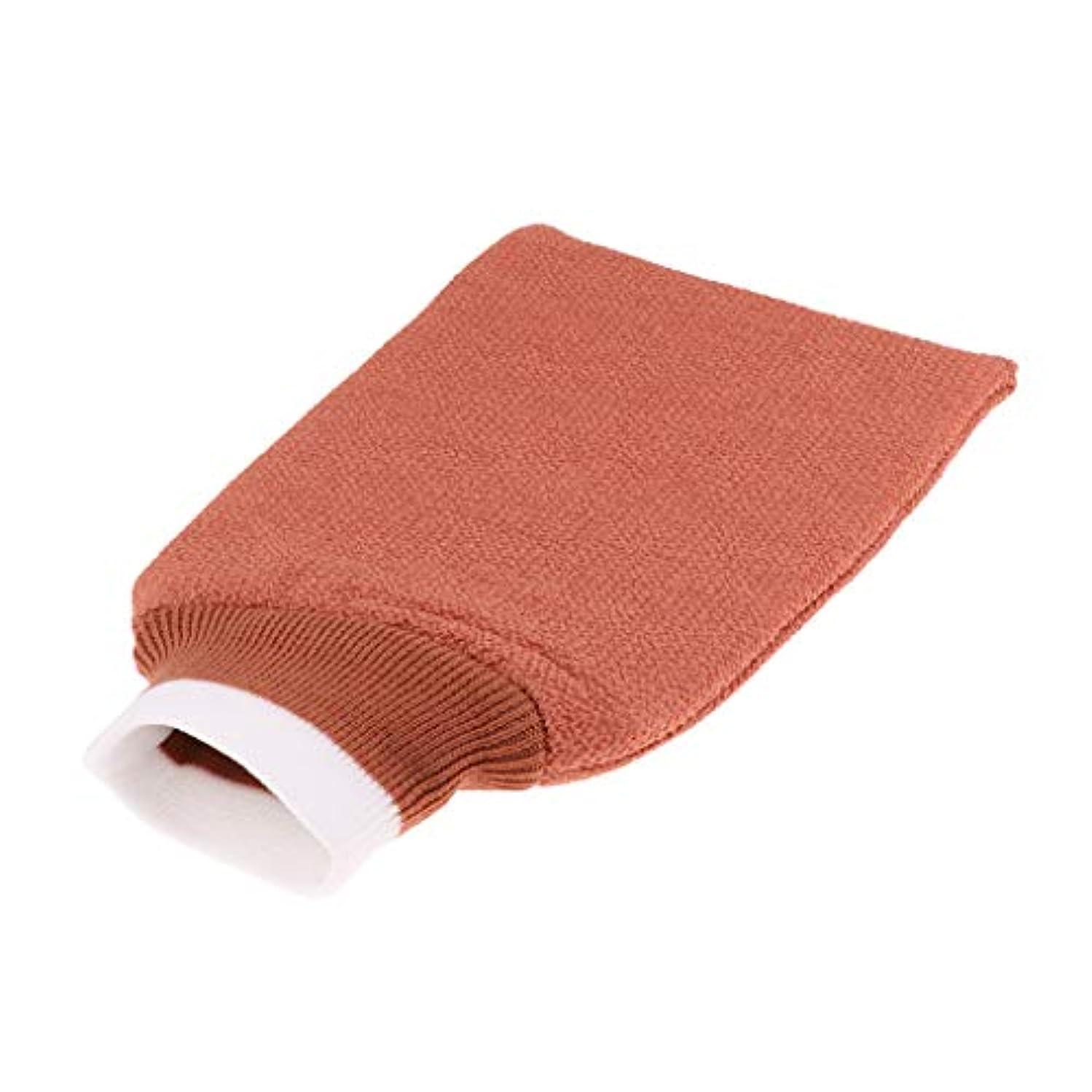 ピザ国籍ただバスグローブ 浴用手袋 シャワー用 バスミット 垢すり手袋 毛穴清潔 角質除去 男女兼用 全3色 - シャンパン