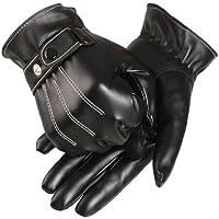 メンズ暖かいグローブ冬 – TOOGOO ( R )メンズブラックレザーオートバイ運転フル指スキー暖かい手袋ミトン