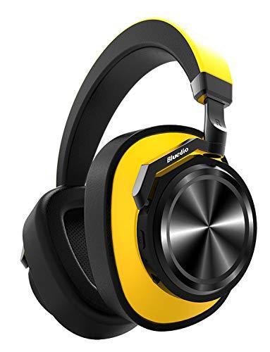 【ノイズキャンセリング進化版】Bluedio T6 ワイヤレスノイズキャンセリングヘッドホン 最大28時間連続再生 Bluetooth ヘッドホン 密閉型 高音質 内蔵マイク ケーブル着脱式 ヘッドフォン (イエロー)