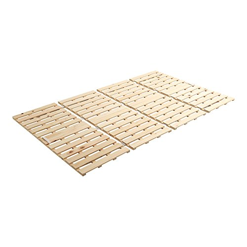 すのこマット すのこベッド 4つ折り式 国産檜 ダブル ベッド 折りたたみ 折り畳み すのこベッド 檜 すのこ 四つ折り 木製 湿気