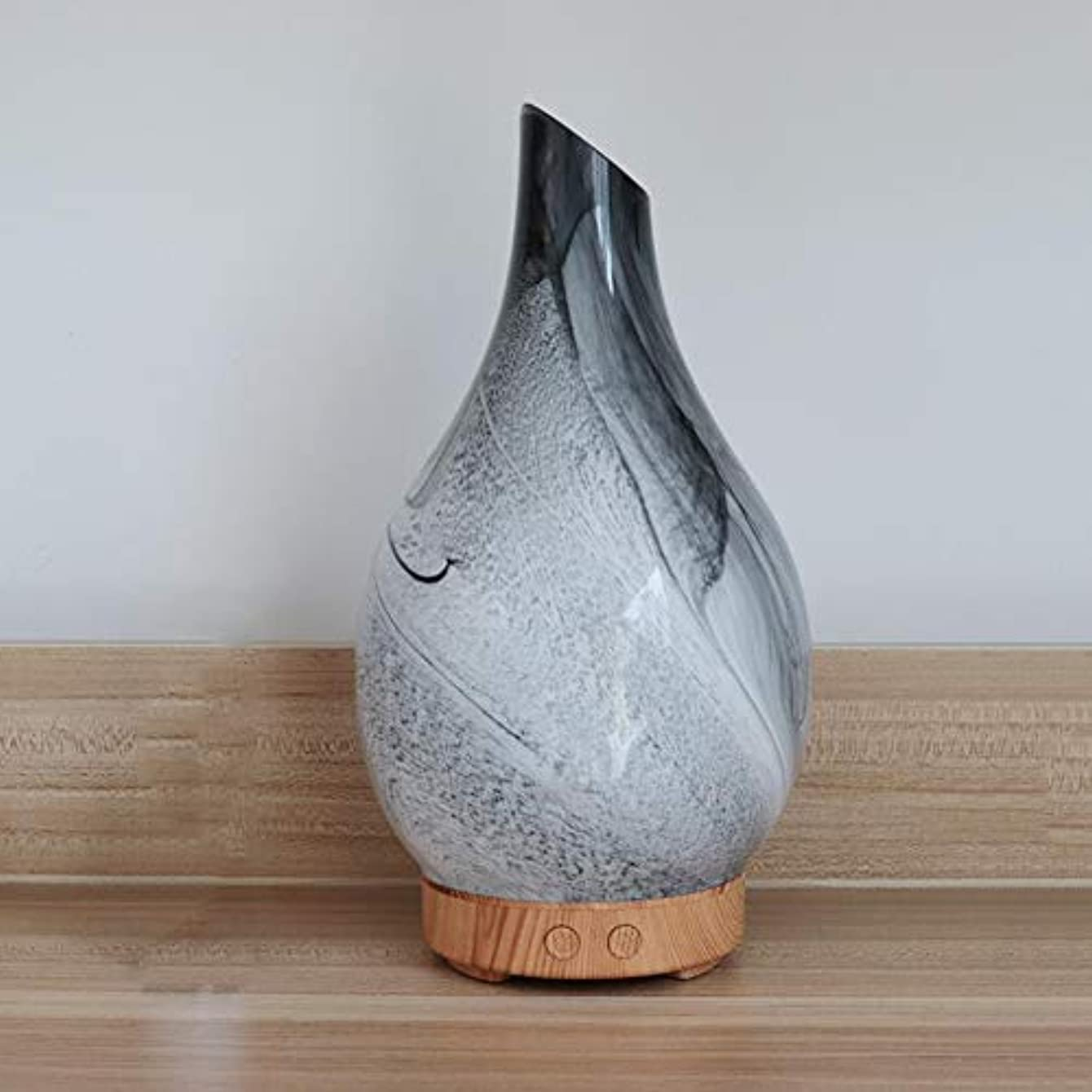 変形する故障葉っぱ花瓶の形 ガラス デスクトップ 加湿器,7 色 美しい 加湿機 アロマ 精油 ディフューザー 涼しい霧 空気を浄化 アロマネブライザー-木材