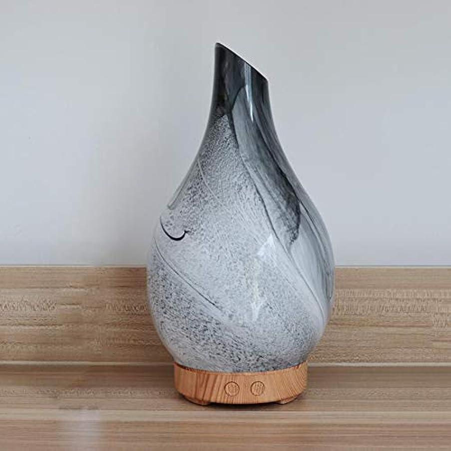 差別的判読できない強調花瓶の形 ガラス デスクトップ 加湿器,7 色 美しい 加湿機 アロマ 精油 ディフューザー 涼しい霧 空気を浄化 アロマネブライザー-木材
