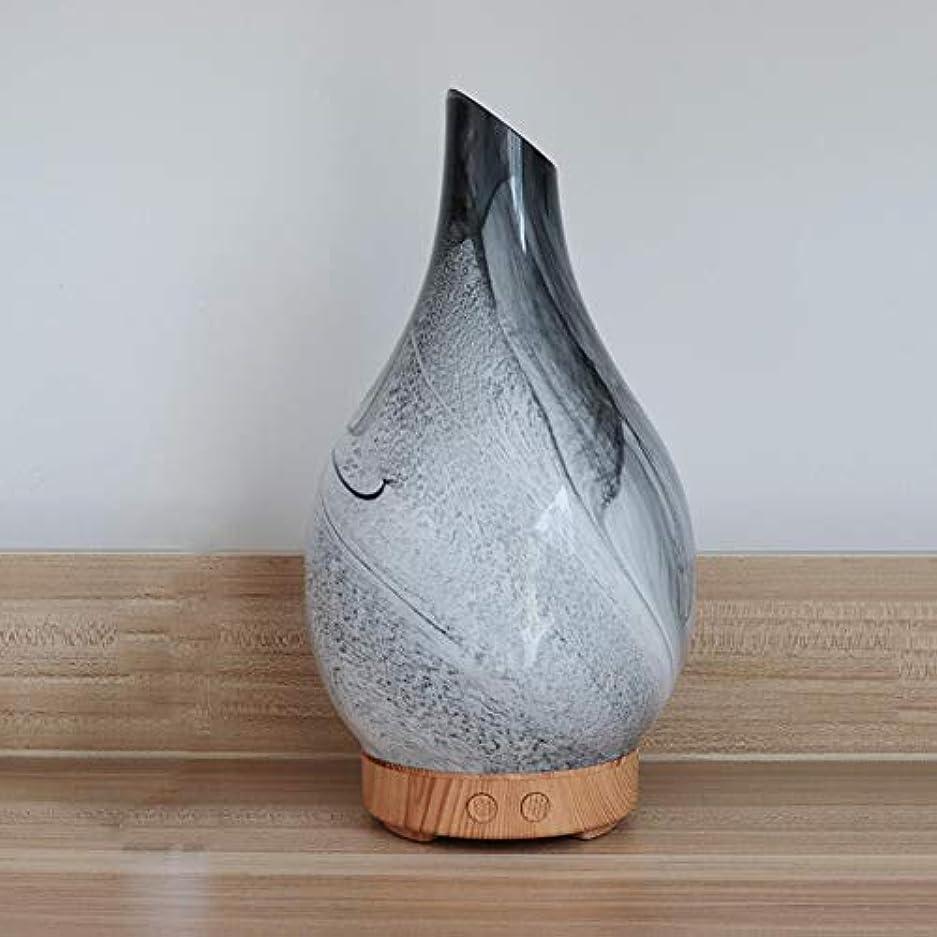 電化するへこみ限りなく花瓶の形 ガラス デスクトップ 加湿器,7 色 美しい 加湿機 アロマ 精油 ディフューザー 涼しい霧 空気を浄化 アロマネブライザー-木材