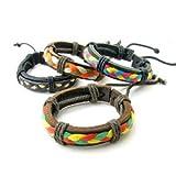 3色紐の三つ編みポイント付き 一重革ブレスレット klb20000ブレスレット 革 D:茶色地×ラスタMIX