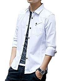 J.STORE [ジェイストア] メタル ボタン シャツ メンズ ぼたん付き カジュアル コットン シャツ ポケットウエスタンシャツ