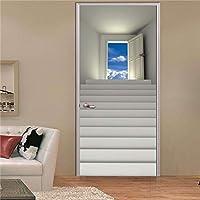 swsongx風景3dドアステッカー用リビングルーム寝室pvc自己接着壁紙家の装飾diy防水壁画デカール77x200cm 77x200cm 1