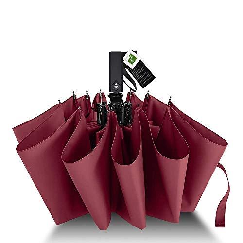 Agedate 折りたたみ傘 自動開閉 頑丈な12本骨 大きい メンズ傘 Teflon加工 超撥水 210T高強度グラスファイバー 耐強風 傘ケース付き (レッド)