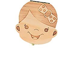 Doitsa 可愛い乳歯ケース 赤ちゃん 胎児の髪 木製 名前 成長記録 お生産祝いプレゼント 良い願いの贈り物 子供の人生で重要な乳歯入れボックス 歯や産毛を保存する  創造的な贈り物 ドイツ語 女
