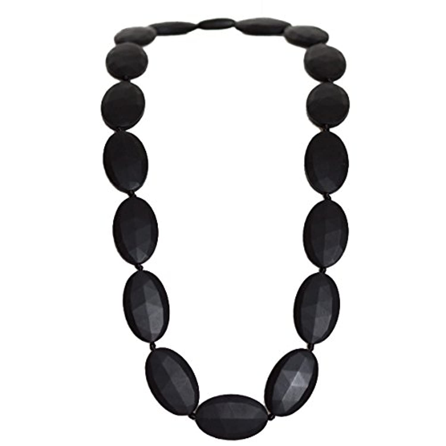 Funky Silicone Teething Necklace for Mom to Wear - Color Black - Our teething beads are made from 100% food grade silicone and are free of heavy metals, PVC and BPA free. by Bambeado