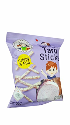 Mae Napa, 3 packs of Taro Sticks, Crispy Taro by Mae Napa, Healthy and Delicious Snack. Premium quality snack from Thailand.(33 g/ pack).