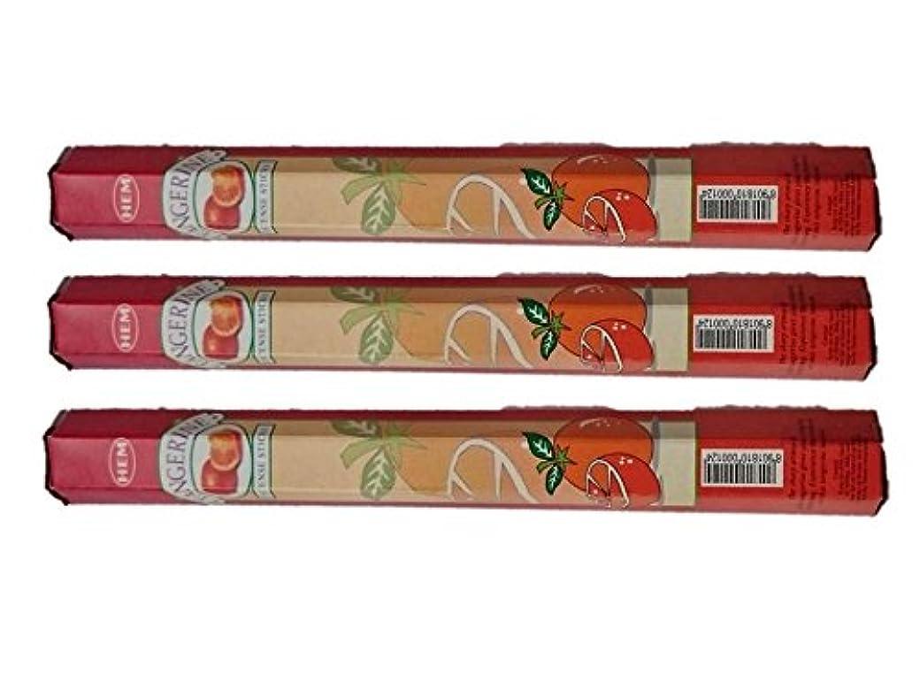 認知ミルクラリーベルモントHEM(ヘム):お香スティック/インセンス/六角香/3箱セット (タンジェリン(オレンジ))