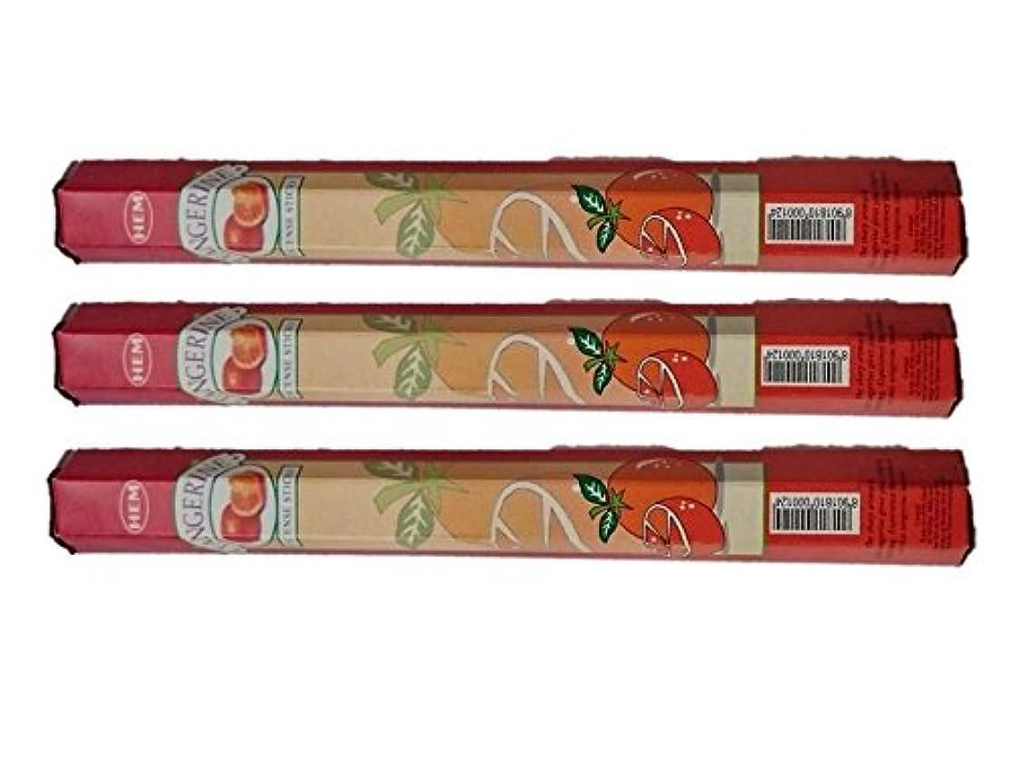 薬用定期的なコウモリHEM(ヘム):お香スティック/インセンス/六角香/3箱セット (タンジェリン(オレンジ))