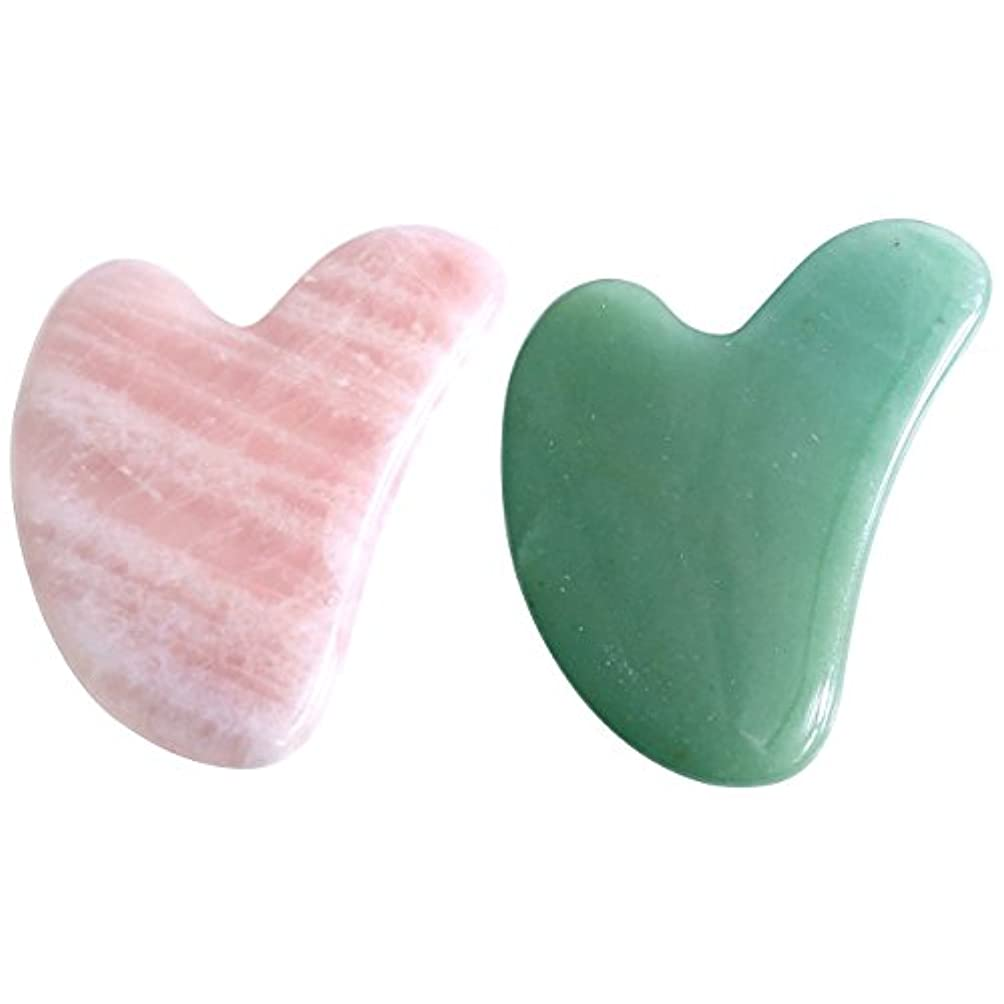 一時停止意味する警告する2点セット2pcsFace / Body Massage rose quartz/ Adventurine heart shape Gua Sha 心臓の/ハート形状かっさプレート 天然石ローズクォーツ 翡翠,顔?ボディ...