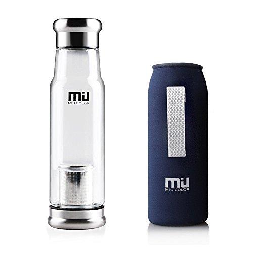 MIU COLOR ガラス水筒 ボトル 550ML 茶こし付き...