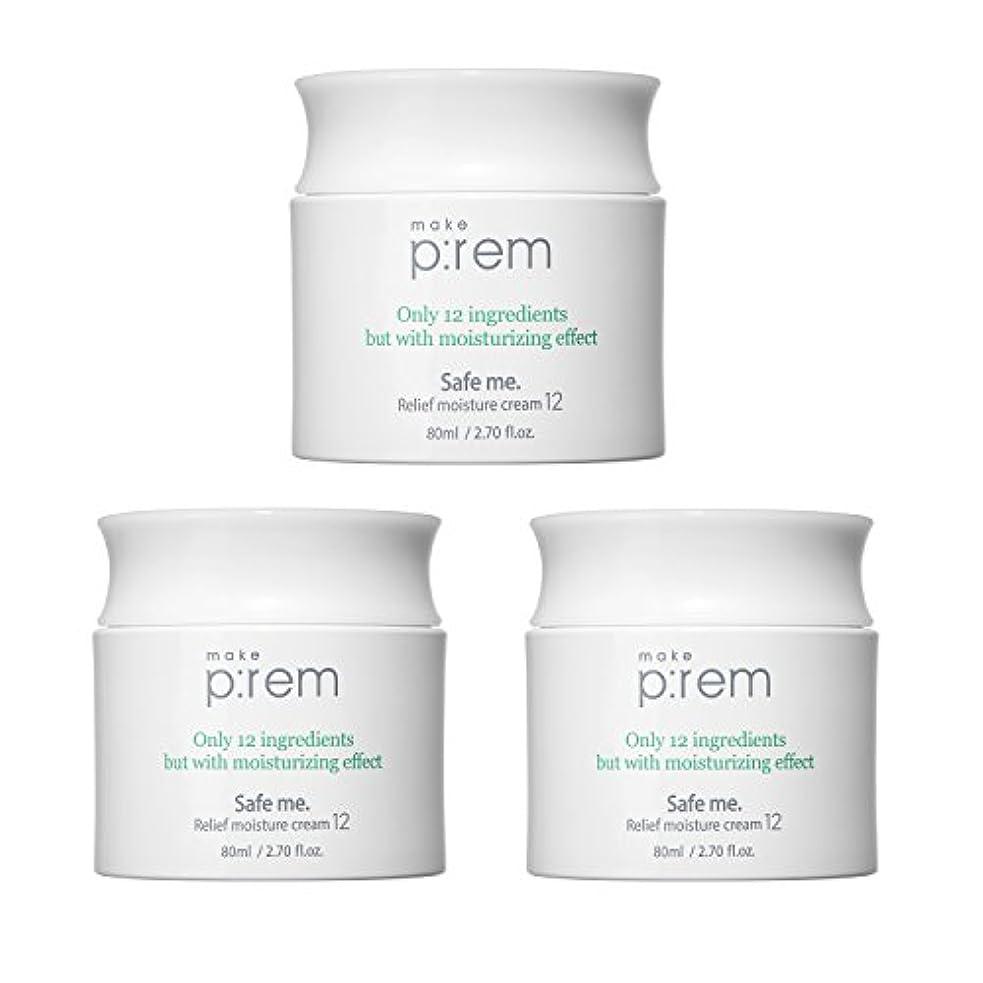 微生物ご予約文化(3個セット) x [MAKE P:REM] メイクプレム セーフミ・リリーフモイスチャークリーム12 80ml / Safe me. Relief moisture Cream 12 80ml / / 韓国製 . 海外直送品