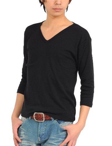 七分袖Tシャツ メンズ Vネック カットソー無地 【q922】 スペード
