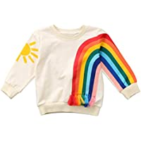 Fansxing Toddler Kids Baby Girl Boy Long Sleeve Tassel Rainbow Sweatshirt Casual Shirt Pullover Tops