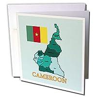 3dRose gc_234402_1 6 x 6インチ「カラフルな地図とカメルーンの行政区域の旗」のグリーティングカード(6枚パック)