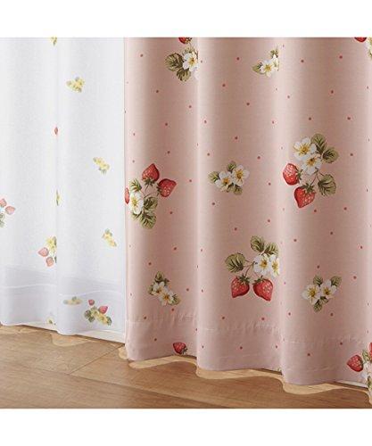 (ニッセン) nissen 遮光カーテン レースカーテン 4枚セット いちご柄 ピンク系 幅100×長さ110(108)cm