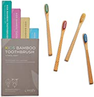 Zenify Earth Bamboo Kids Toothbrush (Set of 4) - Soft BPA Free Brushes - Biodegradable Childrens Toothbrushes