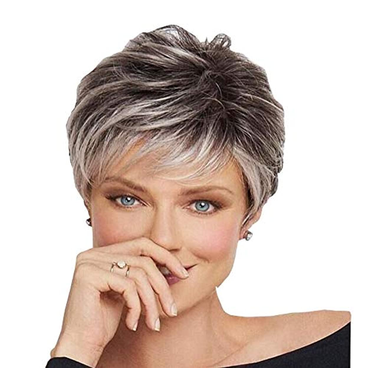 ピケサドル計り知れないYOUQIU 毎日パーティーかつらのために斜め前髪を持つ女性のグレーショートカーリーヘアダークルーツヘアウィッグ (色 : グレー)