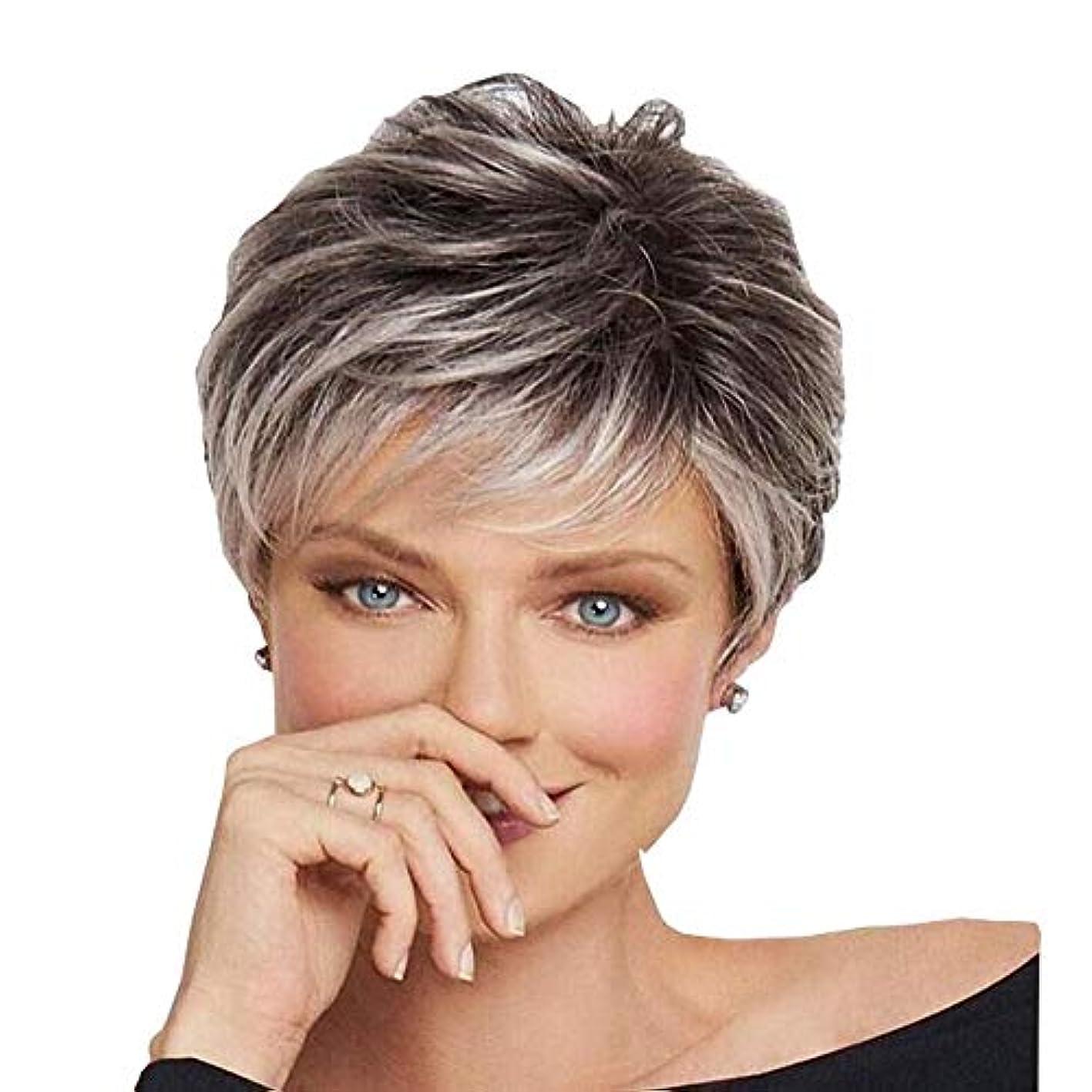 異なる泥宿命YOUQIU 毎日パーティーかつらのために斜め前髪を持つ女性のグレーショートカーリーヘアダークルーツヘアウィッグ (色 : グレー)