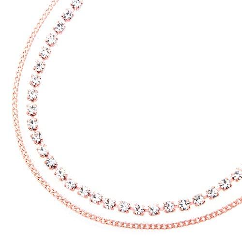 [해외]라인 스톤 & 키 헤이 체인 2 연속 발찌 핑크 골드 (a9031-PG)/Rhinestone & Kihei chain twin anklet pink gold (a 9031-PG)