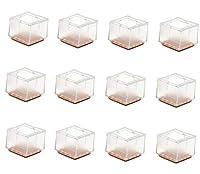 Maydahui 12個 正方形 椅子 脚 カバー キャップ ゴム ハードウッド 床 プロテクター アウトドア 家具 4脚パッド (サイズ 1-6/9インチ~1-8/9インチ)