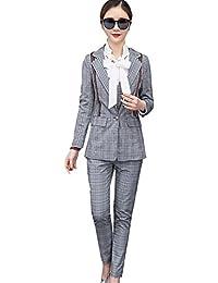 [美しいです] スーツ シャツ 洋服 レディース コート 三点セット ビジネス チェック柄 パンツ セット 春 秋 ウエスト締める イングランド風 スリム
