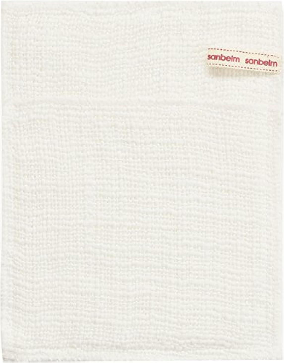 名門減る一般サンベルム (SANBELM) お風呂 体洗い 綿100%生地使用 ボディタオル ホワイト 約16x21cm ボディケアミトン  B34613