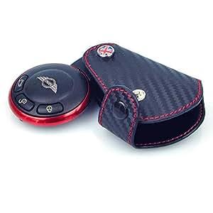 F57 F54 F60 F56 ユニオンジャックマークと赤い糸が付く 黒い革スマートミニクーパーキーフォブカバーリングリムトリムカバーキーカバー ミニクーパーF55 MOTO4U マットカーボンタイプ