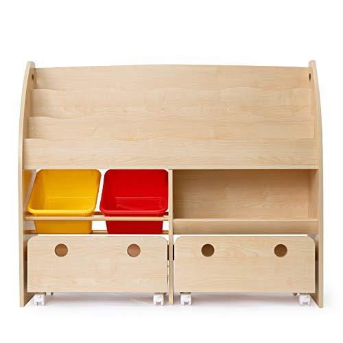 LOWYA (ロウヤ) おもちゃ収納 絵本棚 絵本ラック 本箱 おもちゃ箱 子供用 木製 ワイドタイプ ナチュラル×レッド/イエロー