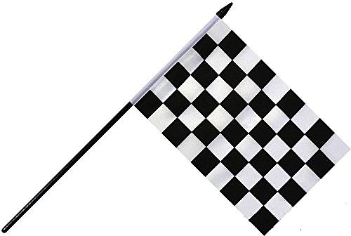 【FLAG】 レース チェッカーフラッグ (モータースポーツ)ハンディーマスコット (15cm×22.5cm ポール付)