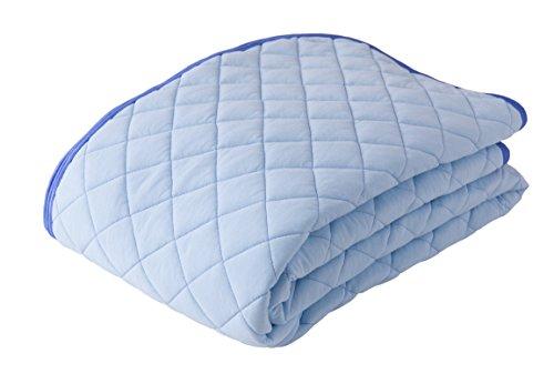 mofua natural 敷きパッド 綿100% 涼感 ICECOTTON セミダブル ブルー 51260202 -