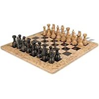 クラシックコーラルストーン&ブラックマーブルチェスセット16