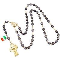 Connemara Irish Celtic Rosary with Hematite Shamrock Beads.