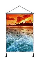 ビーチサンセットとビーチ波 - アート印刷 キャンバスポスター 家の壁の装飾吊り絵(50x70cm)