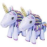 OneHorse 2体セット ユニコーン バルーン 自立 足つき 風船 おもちゃ ゆめかわいい パーティー 装飾 飾り付け パープル