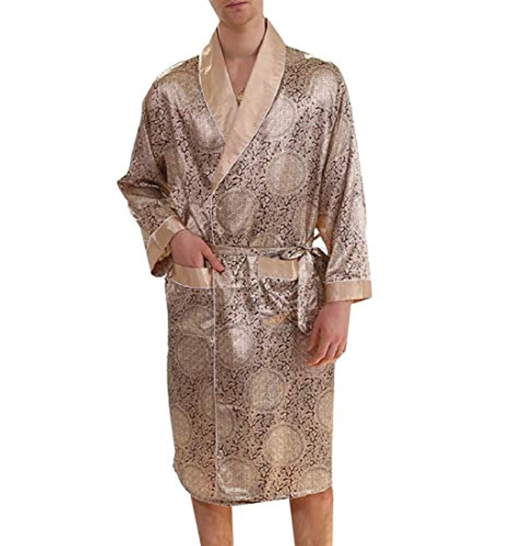 Candiyer メンズシルク居心地の良いカジュアルプラスサイズバスローブ寝具ナイトドレス