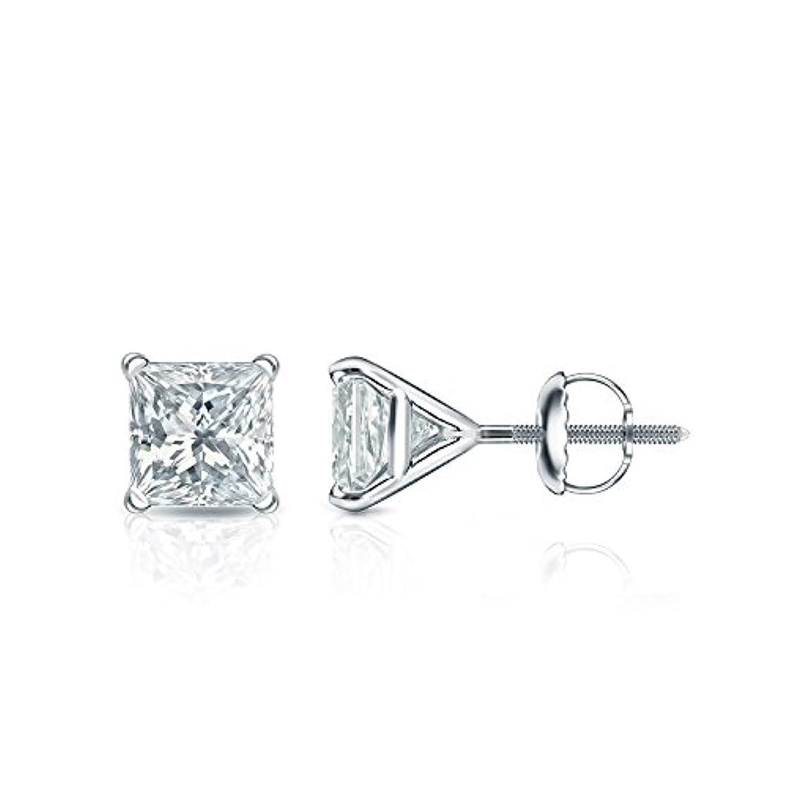 神外交嫌いプラチナ4プロングMartiniプリンセスメンズダイヤモンドスタッドイヤリング( 1 / 4 – 2 ct、Oホワイト、i1 - i2 ) screw-back