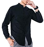 Keaac Men Stand Collar Linen Long Sleeve Solid Frog Button Shirts Black L