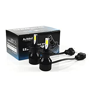 e-auto fun(C5)一体式 超高輝度COBチップ搭載 12V専用 LEDヘッドライトH4 Hi/Lo切り替えタイプ50W (25W x2) 5600LM (2800LM x2) 6500k  2本セット 1年保証