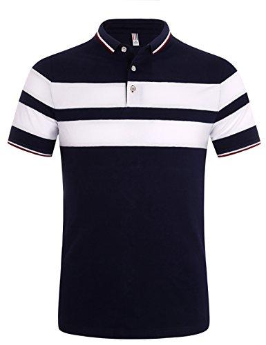 ポロシャツ 半袖 メンズ ボーダー柄 開襟シャツ 吸汗速乾 スポーツウェア ゴルフウェア ブルー L
